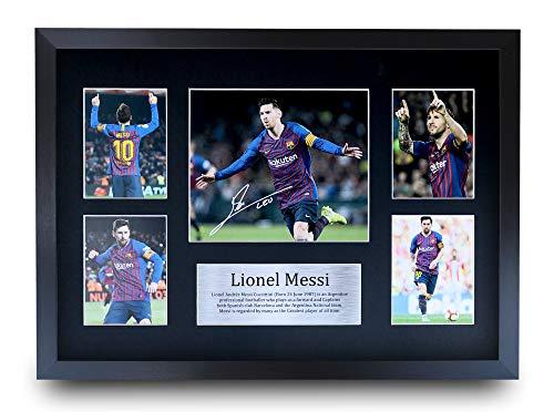 HWC Trading Lionel Messi A3 Gerahmte Signiert Gedruckt Autogramme Bild Druck-Fotoanzeige Geschenk Für Fc Barcelona Fußball Fans
