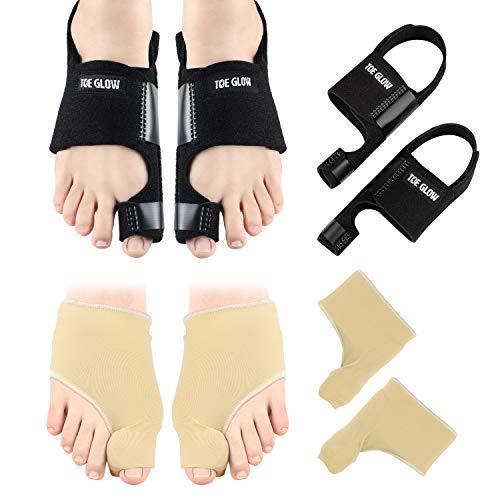 Bunion Corrector & Bunion Relief Protector Sleeves Kit - 4 Pieces Bunion Splints Big Toe Straightener for Hallux Valgus Aid Surgery (Black + Nude, L(Women Size 7.5-11/Men Size 6-10))