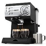 Cafetière Expresso, Homever Professionnelle Machines à Café Expresso 1050W avec Pompe 15 bar, 1.5 L Amovible Réservoir D'eau, Chauffe-tasses,avec Mousseur à Lait pour Cappuccino,Latte