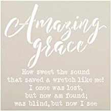 Amazing Grace by StudioR12 | Reusable Mylar Template | Christian Hymn Inspiration | Paint Wood Sign | Craft Simple Cursive Gift Quote | DIY Rustic Song Lyrics Faith Truths | Select Size (15