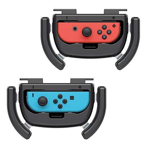 MoKo Volante, Volante Joy-con Nintendo Switch, 2 Set Volante Joystick Nintendo ABS Protezione Urti con Pulsanti +/- Joy-Con Grip per Gioco Accessori Nintendo Switch Joy-Con, Volante giochi Blu/Rosso