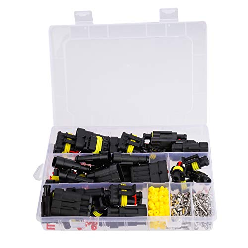 Conector Electrico Impermeable Kit 1/2/3/4 Pines Rápido Enchufe Terminal para Coche Moto...