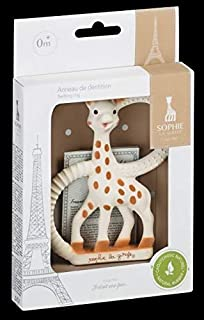 Sophie the giraffe Teething Ring, Brown/ White