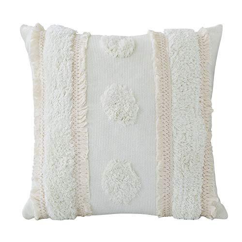 Medina getuftete Kissenbezug dekorative Boho Kissenhülle mit Spitze für Wohnzimmer Schlafzimmer Balkon Sofa Couch. Decor,Quaste Kissenbezüge Weich Dekokissenbezug (45 x 45 cm)