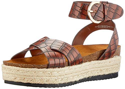 Only Damen ONLMAUVE-1 WRAP Sandal Espadrilles, Brown Stone, 41 EU