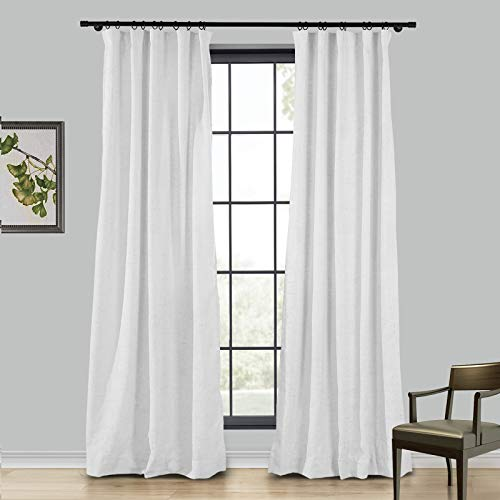 TWOPAGES 4 Kinds of Hanging Methods Linen Room Darkening Curtain, Beige White Solid Natural Rod Pocket Curtain for Sliding Glass Door, 1 Panel, 100 W x 84 L Inches