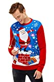 U LOOK UGLY TODAY - Maglione Natalizio da Uomo, con luci LED, Divertente Maglione di Natale con Lampada a LED, Motivo Natalizio LED Light-19023-ma L