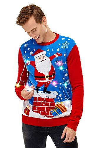 U LOOK UGLY TODAY Męskie brzydkie świąteczne swetry zabawne LED świecący sweter gruby dzianinowy świąteczny top długi rękaw