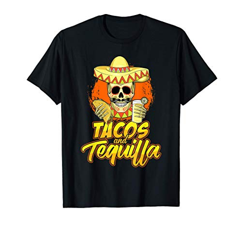 Tacos & Tequila Fun Mexican Skull In Sombrero Loves Tequilla T-Shirt
