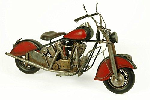 CAPRILO Figura Decorativa de Metal Moto Harley Antigua Roja Vehículos. Regalos Originales. Adornos y Esculturas. Coleccionismo. 38 x 15 x 23 cm.