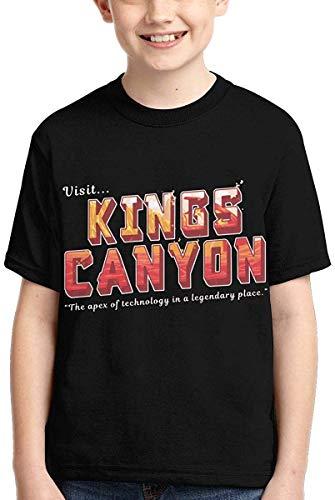 Whgdeftysd Ap-Ex Le-Gends Kings Canyon T Shirts Kids Youth Crewneck Fashion 3D Print Short Sleeve Tee for Boys,Large Black