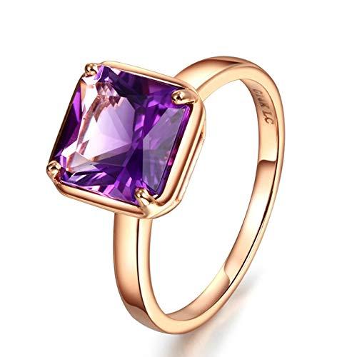 Bishilin Rosegold Ring 750 18Karat 4-Steg-Krappenfassung Quadrat Amethyst 2.2ct Hochzeit Ringe Verlobung Gr.57 (18.1)