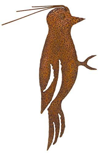 Metall Specht mit Baumspieß rost-finish edel Vogel Edelrost Rostfigur Tierfigur Rostige Gartendeko Hausdeko Rot braun stabil zeitlos wetterfest Baum Garten Sommer Herbst Winter H=21 cm
