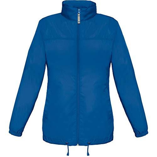 B&C Damen Womens Full Zip Siroco Regenmantel, Blau (Royal Blue 000), 42 (Herstellergröße: X-Large)