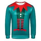 zlhcich Navidad Serie Elf muñeco de Nieve suéter de impresión en 3D Masculino...