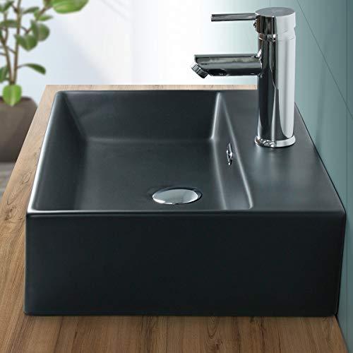 ML-Design | Design Waschbecken Badezimmer 510x360 mm eckig, aus Keramik, Schwarz matt, Waschtisch Aufsatzwaschbecken Aufsatzbecken Aufsatzwaschtisch Hängewaschbecken Handwaschbecken Becken Waschschale