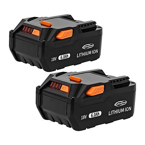 2Pack DSANKE R840085 18V 6.0Ah Lithium Ion Battery for RIDGID 18V Battery R840087 R840083 R840084 R840086 AC840085 AC840087P