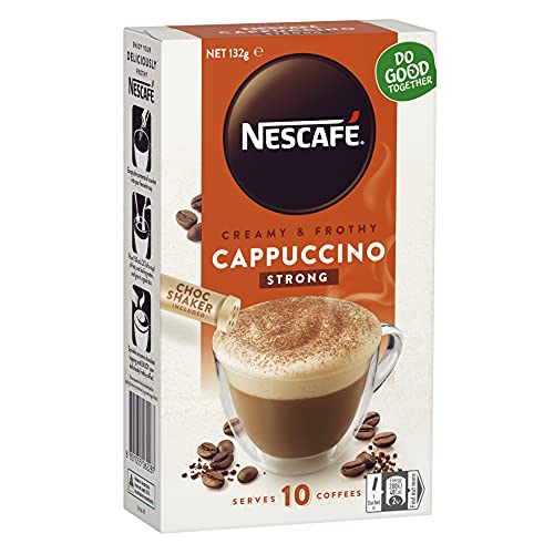 NESCAFÉ Strong Cappuccino Coffee Sachets 40 Pack, 4 x 10 Pack, Chocolate Shaker Included