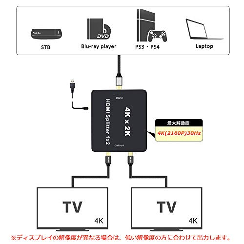 『BLUPOW 4K30Hz HDMI分配器 1入力2出力 hdmiセレクター hdmiスプリッター 2160P 3D PS4 Xbox Blu-ray Fire TV Apple TVなど対応 2画面同時出力可能 VA22』の4枚目の画像