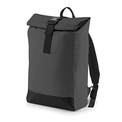 BagBase Reflektierender Rolltop Rucksack - Black Reflective
