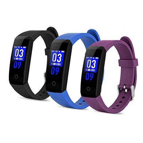 Slim polsbandje, 0,96-inch touchscreen 24-uurs fulltime polsbandje met waterdichte bloeddrukmeter (paars)