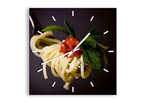 orologio da parete quadrato moderni Orologio da parete - Quadrato - Italia pasta spaghetti - 30x30cm - Orologio da parete - Orologio in Vetro - Orologio Da Muro - Moderno - Decorazione Parete - Home Decor - C3AC30x30-1307
