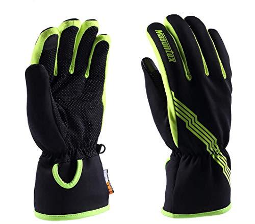 Touchscreen Winter Handschuhe-Fahrradhandschuhe Wasserdicht Fleece Vollfinger Radsport MTB Handschuhe Warm Winterhandschuhe für Männer Herren(Grün,M)