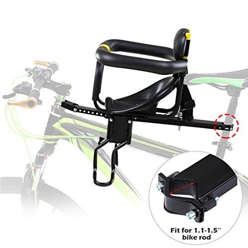 Dittzz Siège Vélo Avant Enfant - Sécurité Siège de Vélo Avant Coussin de Selle avec Poignée, Clôture et Pédale pour Bébé
