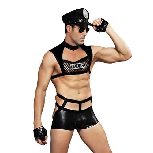 Amosfun conjunto de disfraces de policía conjunto de lencería cosplay conjunto de lencería de detectives ropa interior trajes de lencería para hombres novios marido masculino
