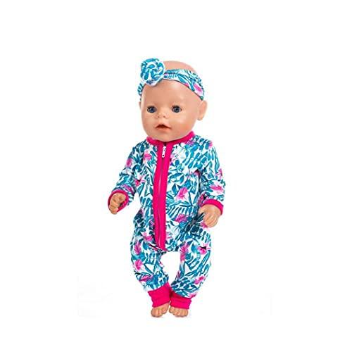 Kacniohen Baby Doll Clothes-Bambini Primi Formazione Gioca, Rosy Pervinca del Modello Baby Doll Maniche Lunghe Outfits Tute con Le Fasce Multi Function Doll Accessori