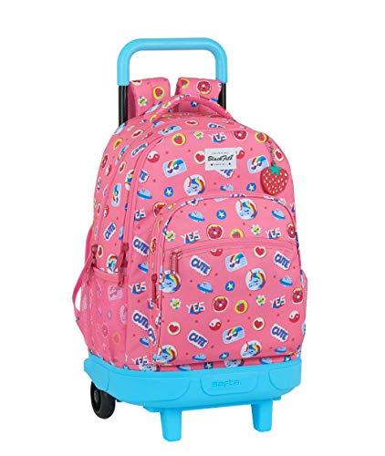 Blackfit8 Mochila Grande Con Ruedas Compact Extraíble Reciclable Cute, 330x220x450mm, Rosa Chicle