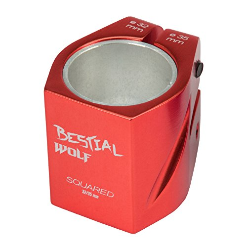 BESTIAL WOLF Nuevo Clamp 2 Tornillos Squared1410, Color Rojo, 32-35 mm