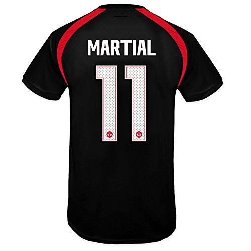 Offizielles Manchester United Kinder-T-Shirt, Polyester 7 Jahre Black 11 Martial