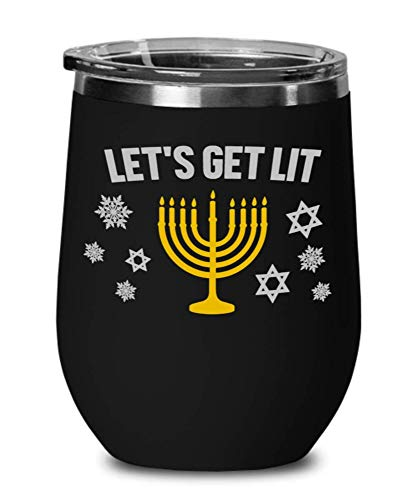 LETS GET LIT Hanukkah, Wine Glass, Sweatshirt For Women, Tumbler, Hanukkah Sweaters, Funny Hanukkah Shirts, Menorah Jewish Shirts NZL2FV