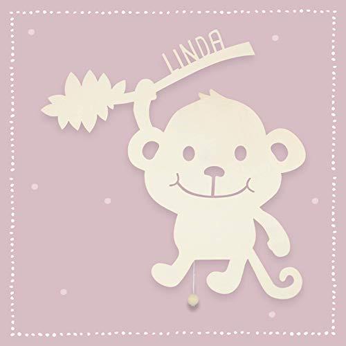 Nachtlicht, Wandleuchte, Holz, Tauf-Geschenk mit Wunsch-Name für Mädchen oder Jungen, Affe, Äffchen, Schlummerlicht, Babyzimmer, Kinderzimmer, Schlummerlicht, Baby-lampe [Energieklasse A++]