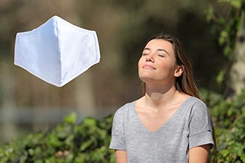 JaTop Mund-und Nasen-Maske waschbar 60 Grad aus Baumwolle dreilagig Neue - Technologie, jetzt mit Soft- Nasenbügel für perfekten Sitz