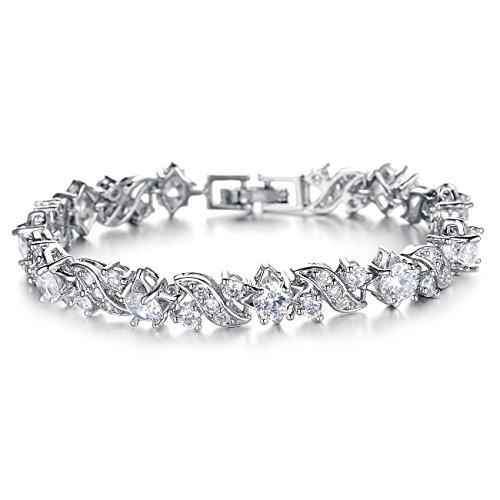 Bling Bling AAA - Pulsera de tenis con circonita cúbica y diamante, chapada en oro blanco, regalo...
