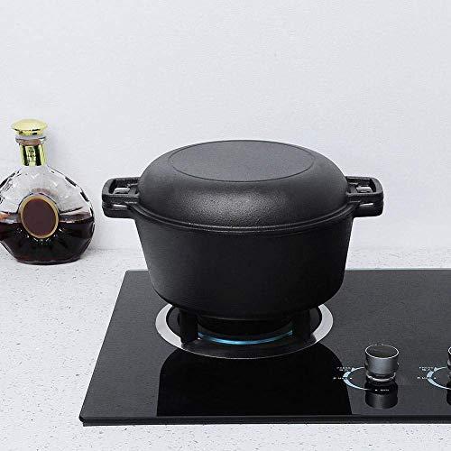 2 in 1 gewürztem Gusseisen Dutch Pot Double Dutch Oven Gusseisen Bratpfanne Kochgeschirr Combo Cooker Kochtopf für Home Kitchen, 10,2 × 10,2 × 4,7 Zoll