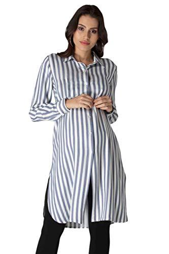 M.M.C. Gestreifte Umstands-Tunika mit blauen Streifen – Damen Longbluse Schwangerschafts-Kleid Hemdbluse Partykleid – Schwangerschaft Bluse Umstandskleid (Blau, 44)