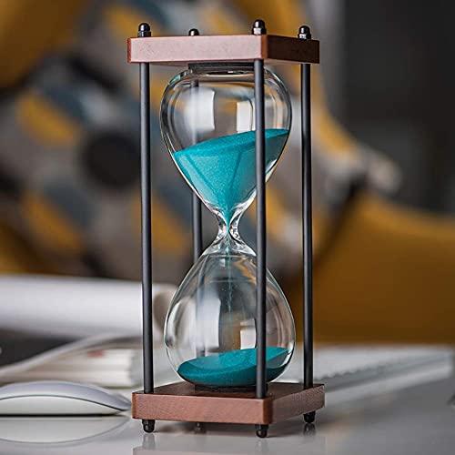Temporizador de arena, reloj de arena, marco de madera, 30 minutos, temporizador de vidrio de arena, para decoración de adornos, Navidad, Año Nuevo, cumpleaños, té, mesa de café, estante para libros,