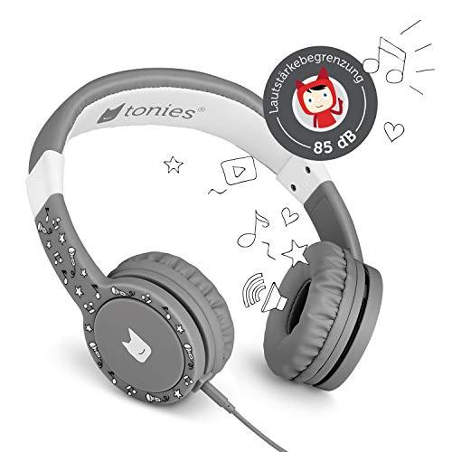 Tonie-Lauscher anthrazit grau: Kinder Kopfhörer passend zur Toniebox - Lautstärke reguliert, Abnehmbares Kabel, Größenverstellbar, Bewegliche Ohrmuscheln