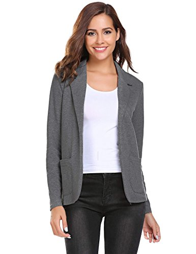 Zeagoo Womens Casual Work Office Blazer Open Front Long Sleeve Cardigan Jacket, Dark Grey, Large