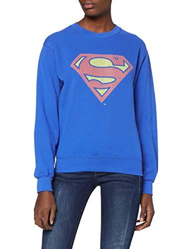 DC Comics Official Superman Shield Crackle Womens Sweatshirt Sudadera, Azul (Royal Blue), 42 para Mujer