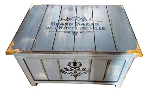 Baul de madera Tablereado Gris Grand Bazar Vintage