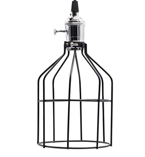 Waqihreu Lámpara Colgante Industrial Vintage con Pantalla de lámpara de Jaula de...
