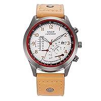 ZHANGZZ高品質、ハイエンドのファッションウォッチ, ホット時計メンズレザーバンド日付アナログクォーツ腕時計 (Color : 7)