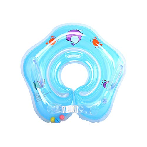 JackRuler Babypool-Schwimmer, Baby schwimmring Hals, aufblasbare Kinder Schwimmen Schwimmer, Baby-Schwimm-Hals-Ring mit Glocken, Kinder-Schwimm-Hals-Ring für Baby Kinder Infant für 0-12 Monaten (blue)