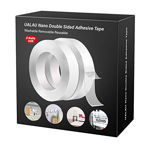 UALAU Double Sided Tape Heavy Duty, Nano Washable Traceless Removable Mounting Tape, Clear Adhesive Sticky Tape for Wall, Fix Carpet Photo Frame-2 Pack/33FT