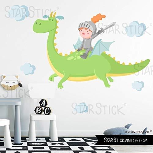 Vinilos para niños - El dragón mágico y el caballero. Verde - T2 - Mediano