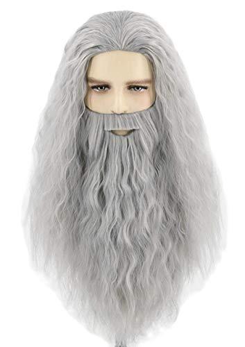 Topcosplay Mens Wigs and Beard Long Gray Cosplay Halloween Costume Wig